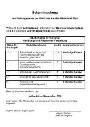 BekanntmachungLeistungsnachweise I - Fachhochschule für ...