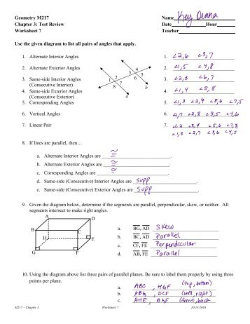 Geometry M217 Name Chapter 3: Test Review Date Hour ...