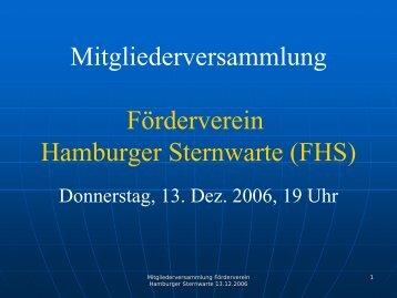 Vorstandsbericht 2006 - Förderverein Hamburger Sternwarte eV