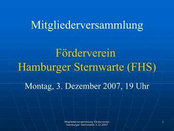 Vorstandsbericht 2007 - Förderverein Hamburger Sternwarte eV