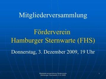 Vorstandsbericht 2009 - Förderverein Hamburger Sternwarte eV