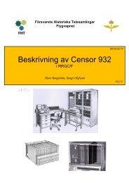 Beskrivning av Censor 932 i RRGC/F - Försvarets Historiska ...