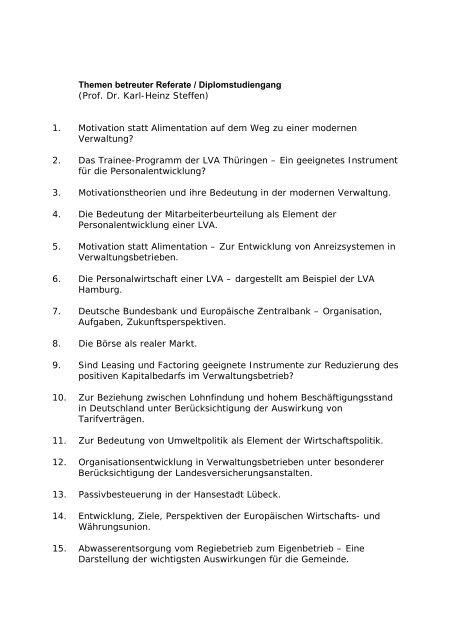 Themen betreuter Referate / Diplomstudiengang (Prof. Dr. Karl ...