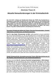 19,01,2011 - Aktuelle Herausforderungen in der Kriminaltechnik