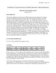 Interstate Maintenance Discretionary (IMD) Program Information