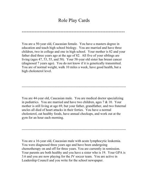 Role Play Cards pdf