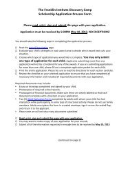 The Franklin Institute Discovery Camp Scholarship Application ...