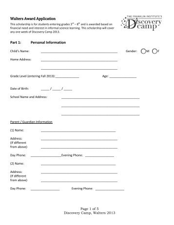 Walters Award Application Form - The Franklin Institute
