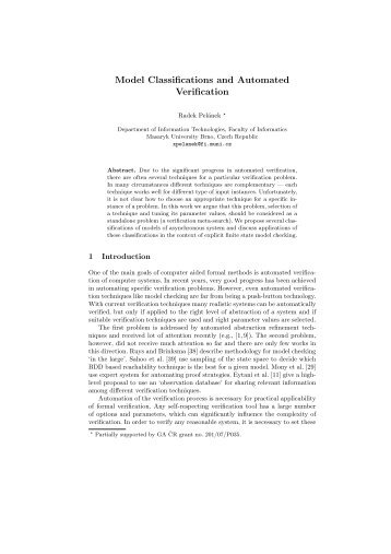 Model Classifications and Automated Verification - CiteSeerX