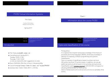 PV030 Textual Information Systems - Masaryk University