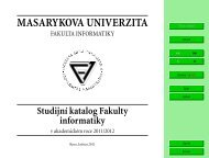 Studijní katalog - Fakulta informatiky - Masarykova univerzita