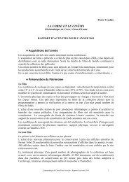 LA CORSE ET LE CINÉMA Acquisitions de l'année ... - FIAF