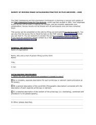 survey of moving image cataloguing practice in film archives ... - FIAF