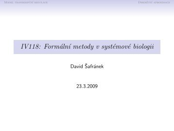 Přednáška 6: Modelování kinetiky transkripce