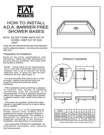 how to install ada barrier free shower bases fiat products
