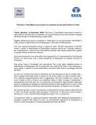 Fiat Auto e Tata Motors annunciano la creazione di una ... - Fiat SpA