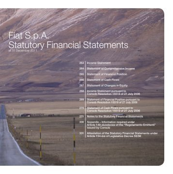 Fiat S.p.A. Statutory Financial Statements - Fiat Group 2011 Annual ...