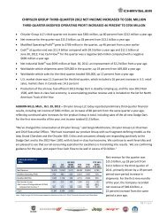 chrysler group third-quarter 2012 net income increased to ... - Fiat SpA