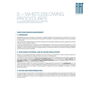 5 – WhistlebloWing Procedures - Fiat SpA