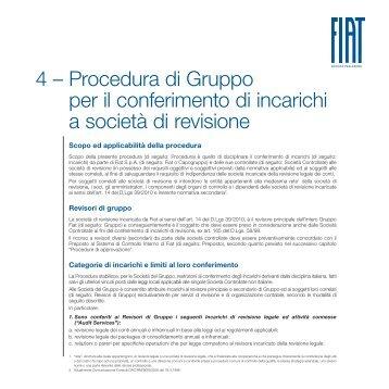 Procedura di Gruppo per il conferimento di incarichi a ... - Fiat SpA