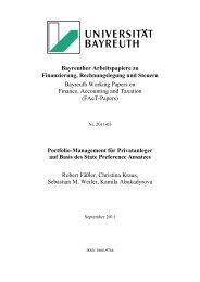Bayreuther Arbeitspapiere zu Finanzierung, Rechnungslegung und ...