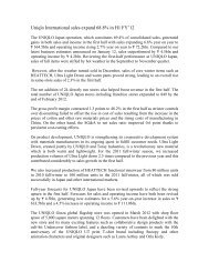UNIQLO International generated significant gains in ... - Fibre2fashion