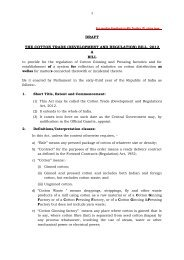 The Cotton Trade(Development and Regulation) - Ministry of Textiles