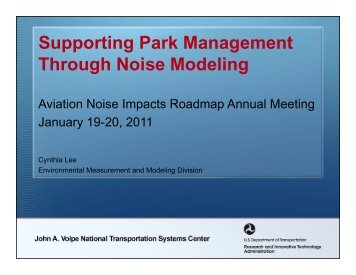 Supporting Park Management Through Noise Modeling - FICAN