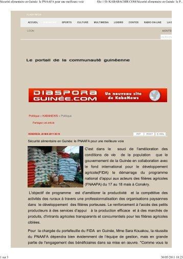 Sécurité alimentaire en Guinée: le PNAAFA pour une ... - FIDAfrique