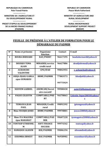Liste des Participants à la formation - FIDAfrique