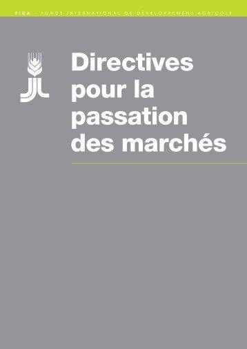 Directives du FIDA pour la passation marchés - FIDAfrique