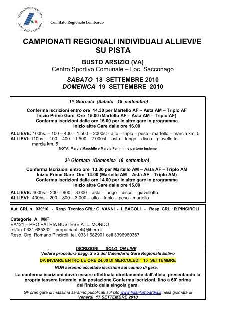 Fidal Lombardia Calendario.Campionati Regionali Individuali Allievi E Su Pista Fidal