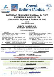 Campionato Regionale di Staffette J/PF/M - Fidal Lombardia