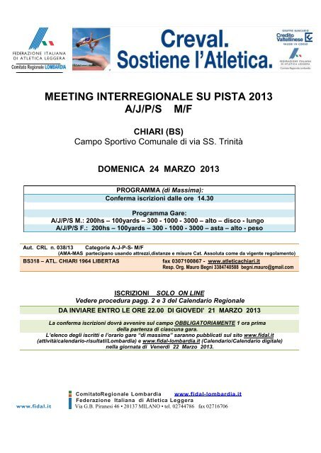 Fidal It Calendario.Meeting Interregionale Su Pista Fidal Lombardia