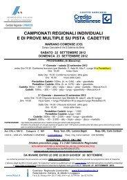 Campionato Regionale Cadetti/e - Fidal Lombardia