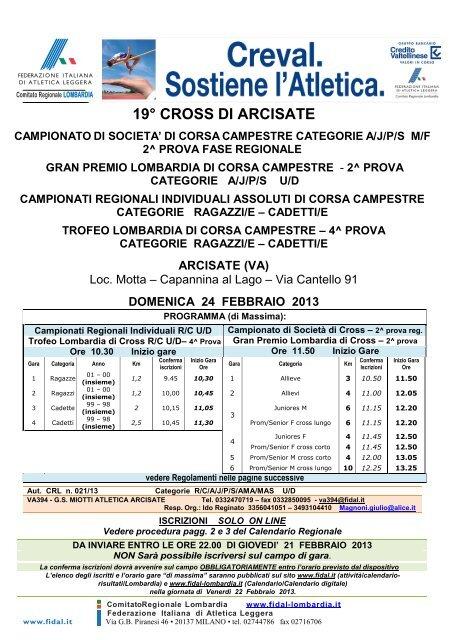 Fidal Lombardia Calendario.Cadetti E Trofeo Lombardia Di Corsa Campestre Fidal Lombardia