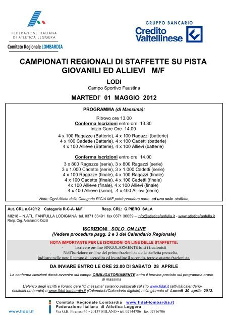 Fidal Lombardia Calendario.Campionati Regionali Di Staffette Su Pista Giovanili