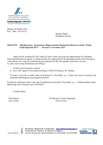 Comitato Regionale LOMBARDIA - Fidal Lombardia