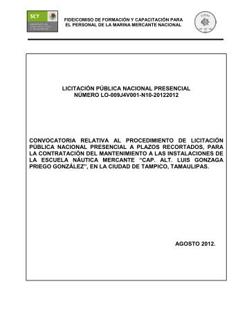 licitación pública nacional presencial número lo-009j4v001 ... - Fidena