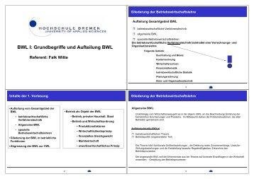 BWL I: Grundbegriffe und Aufteilung BWL