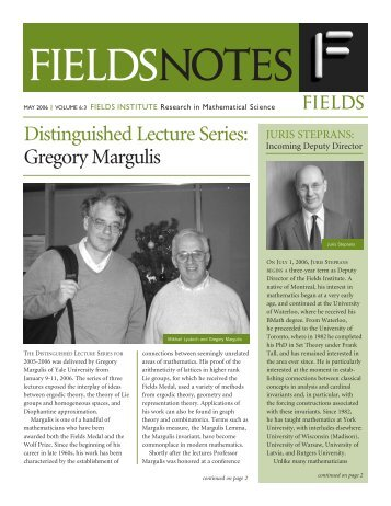Distinguished Lecture Series: Gregory Margulis - Fields Institute ...