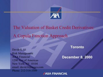 The Valuation of Basket Credit Derivatives: A Copula Function ...