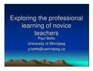 Exploring the professional learning of novice teachers - Fields Institute