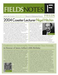 2004 Coxeter Lecturer Nigel Hitchin - Fields Institute - University of ...