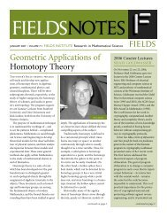 FIELDS Geometric Applications of Homotopy Theory
