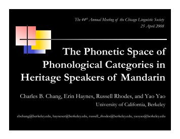 The Phonetic Space of Phonological Categories in Heritage ...