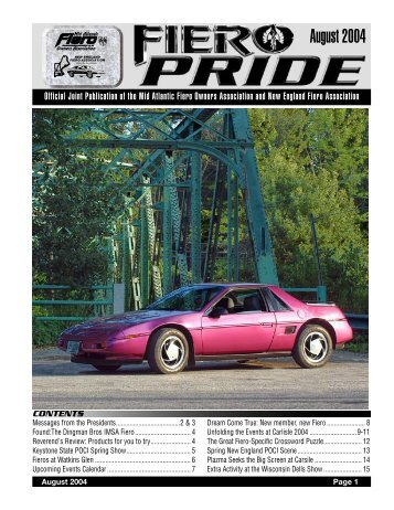August 2004 Issue - New England Fiero Association