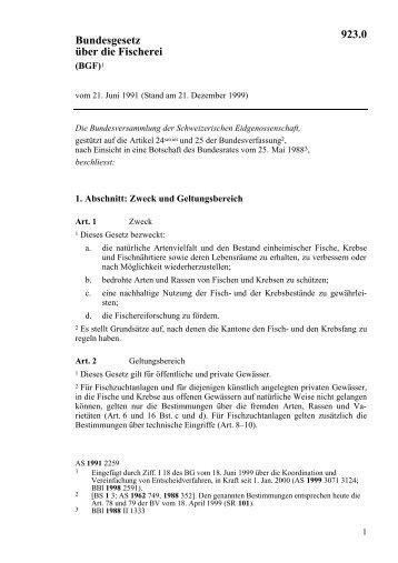 Bundesgesetz Schweiz: Fischerei 923.0