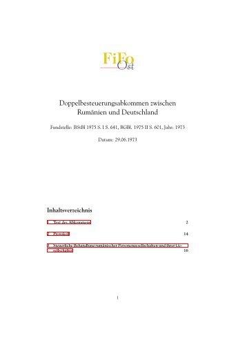 Doppelbesteuerungsabkommen zwischen Rumänien und ... - FiFo Ost