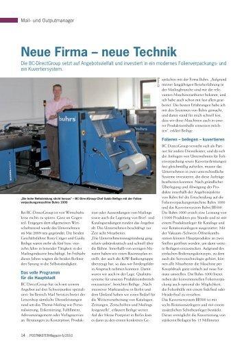 Neue Firma – neue Technik - BC DirectGroup GmbH